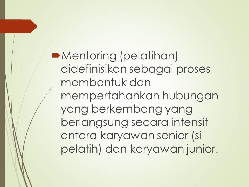 Mentoring (pelatihan) didefinisikan sebagai proses membentuk dan mempertahankan hubungan yang berkembang yang berlangsung secara intensif antara karyawan senior (si pelatih) dan karyawan junior.