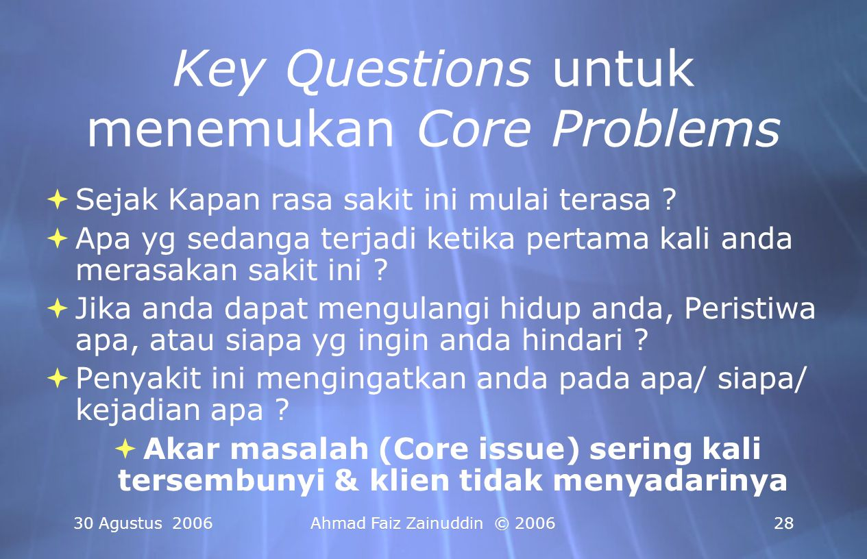 Key Questions untuk menemukan Core Problems