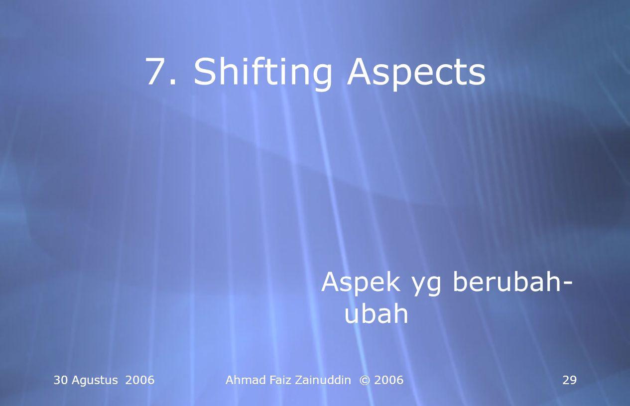7. Shifting Aspects Aspek yg berubah-ubah 30 Agustus 2006