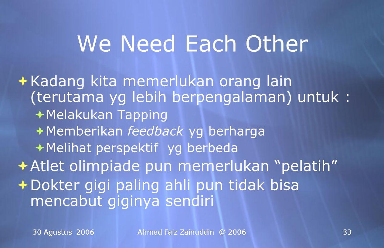 We Need Each Other Kadang kita memerlukan orang lain (terutama yg lebih berpengalaman) untuk : Melakukan Tapping.