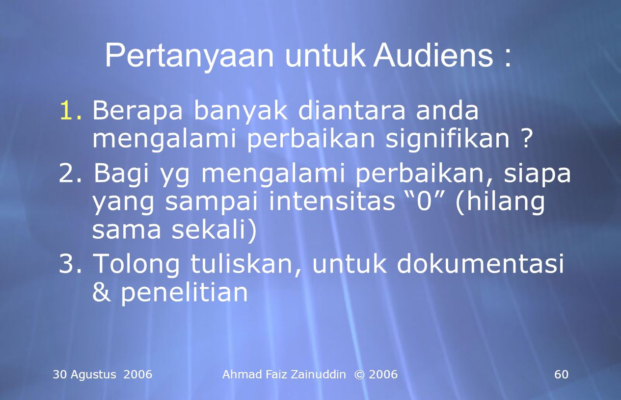 Pertanyaan untuk Audiens :