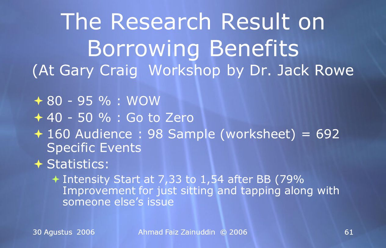 The Research Result on Borrowing Benefits (At Gary Craig Workshop by Dr. Jack Rowe