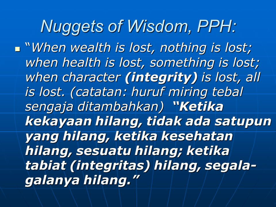 Nuggets of Wisdom, PPH:
