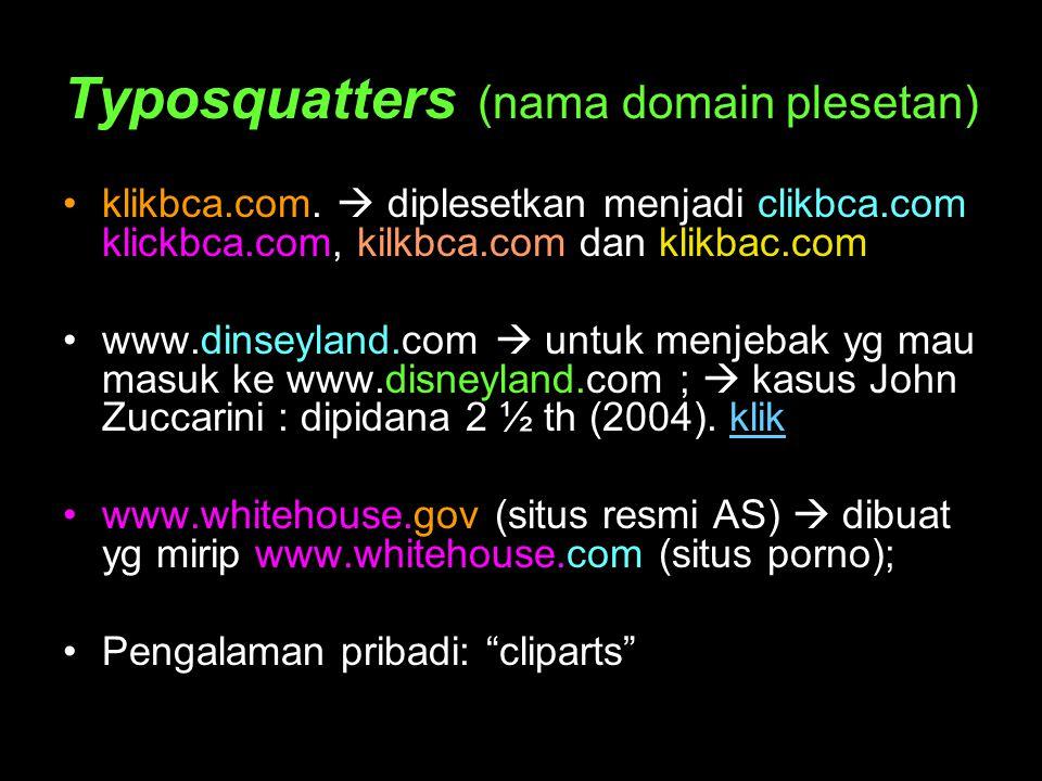 Typosquatters (nama domain plesetan)