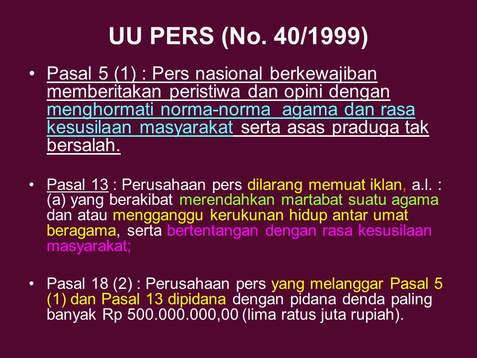 UU PERS (No. 40/1999)