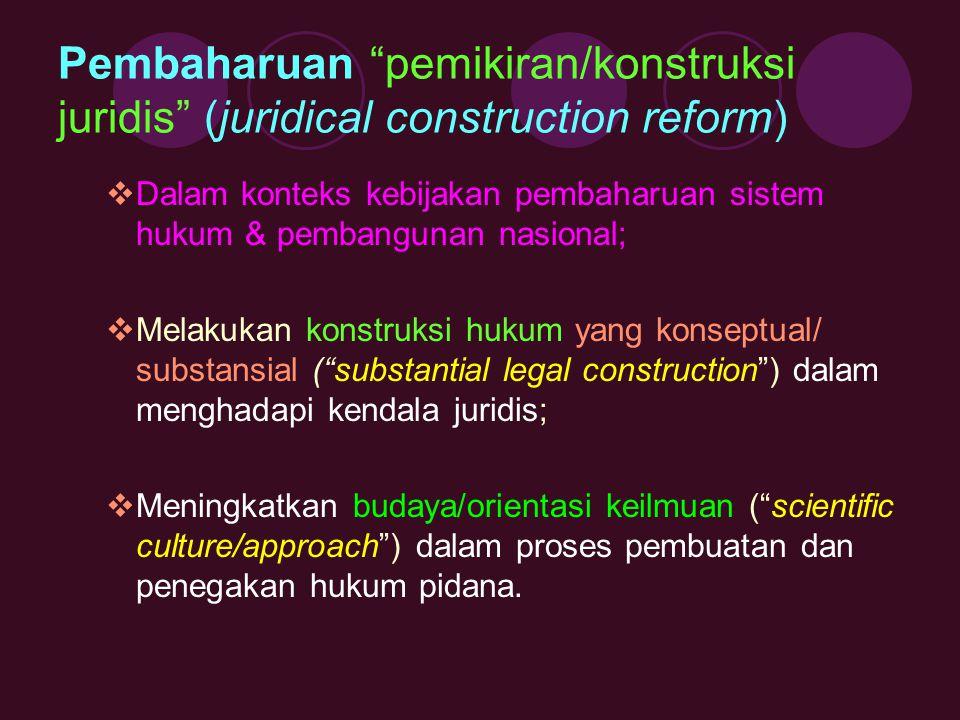 Pembaharuan pemikiran/konstruksi juridis (juridical construction reform)