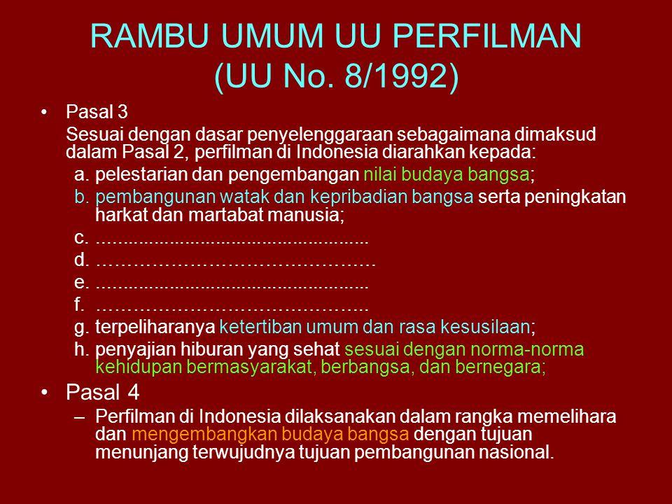 RAMBU UMUM UU PERFILMAN (UU No. 8/1992)