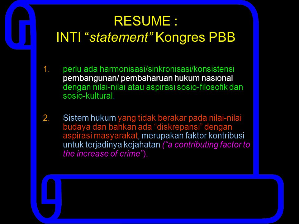 RESUME : INTI statement Kongres PBB