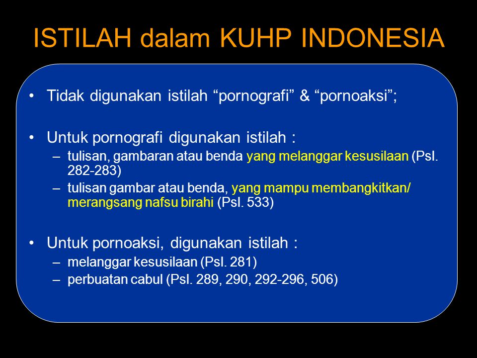 ISTILAH dalam KUHP INDONESIA