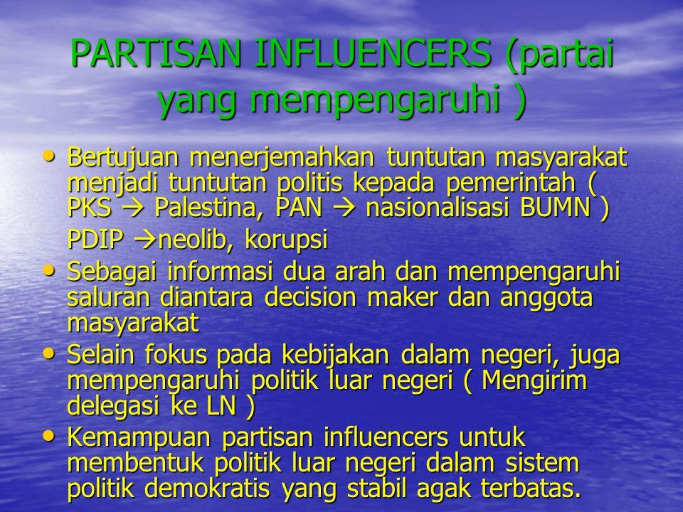 PARTISAN INFLUENCERS (partai yang mempengaruhi )
