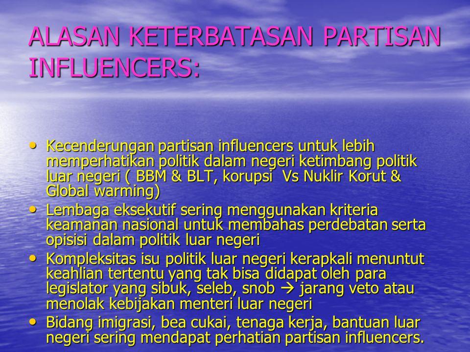ALASAN KETERBATASAN PARTISAN INFLUENCERS: