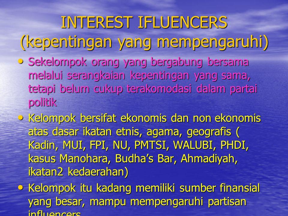 INTEREST IFLUENCERS (kepentingan yang mempengaruhi)
