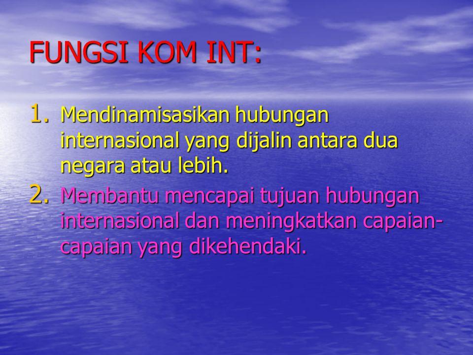 FUNGSI KOM INT: Mendinamisasikan hubungan internasional yang dijalin antara dua negara atau lebih.