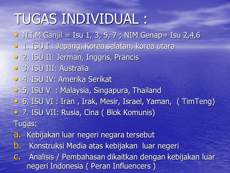 TUGAS INDIVIDUAL : N.I.M Ganjil = Isu 1, 3, 5, 7 ; NIM Genap= Isu 2,4,6. 1. ISU I : Jepang, Korea selatan, korea utara.
