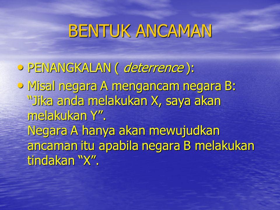 BENTUK ANCAMAN PENANGKALAN ( deterrence ):