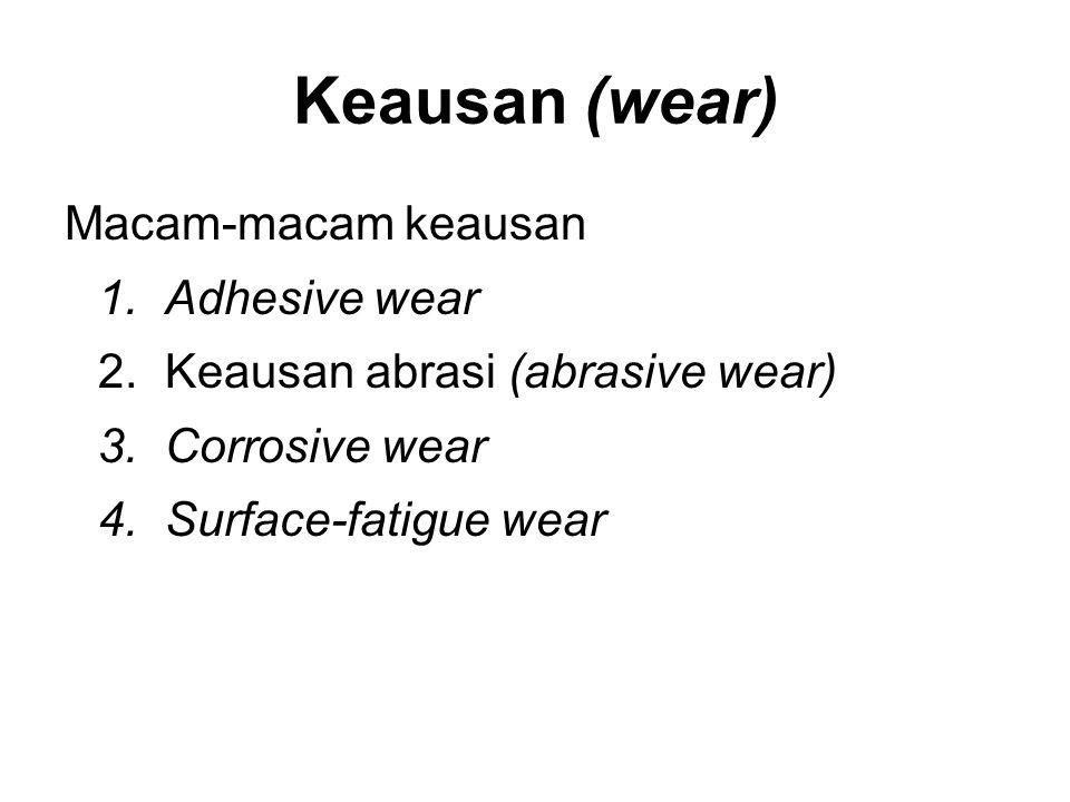 Keausan (wear) Macam-macam keausan Adhesive wear