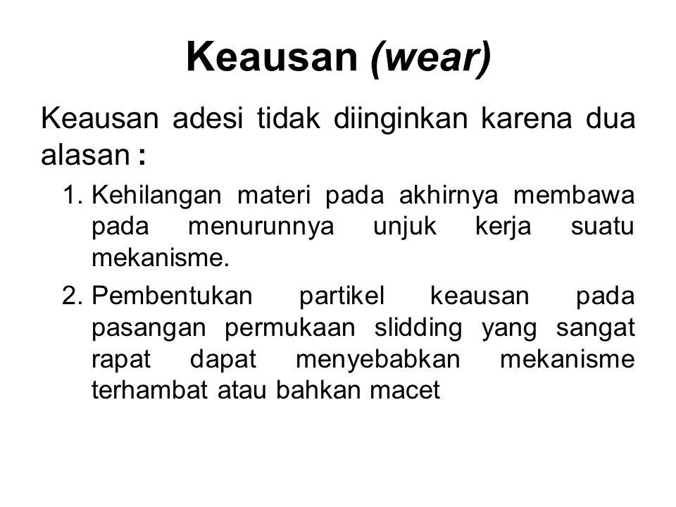 Keausan (wear) Keausan adesi tidak diinginkan karena dua alasan :