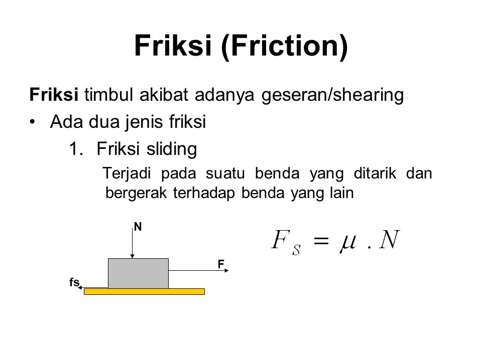 Friksi (Friction) Friksi timbul akibat adanya geseran/shearing