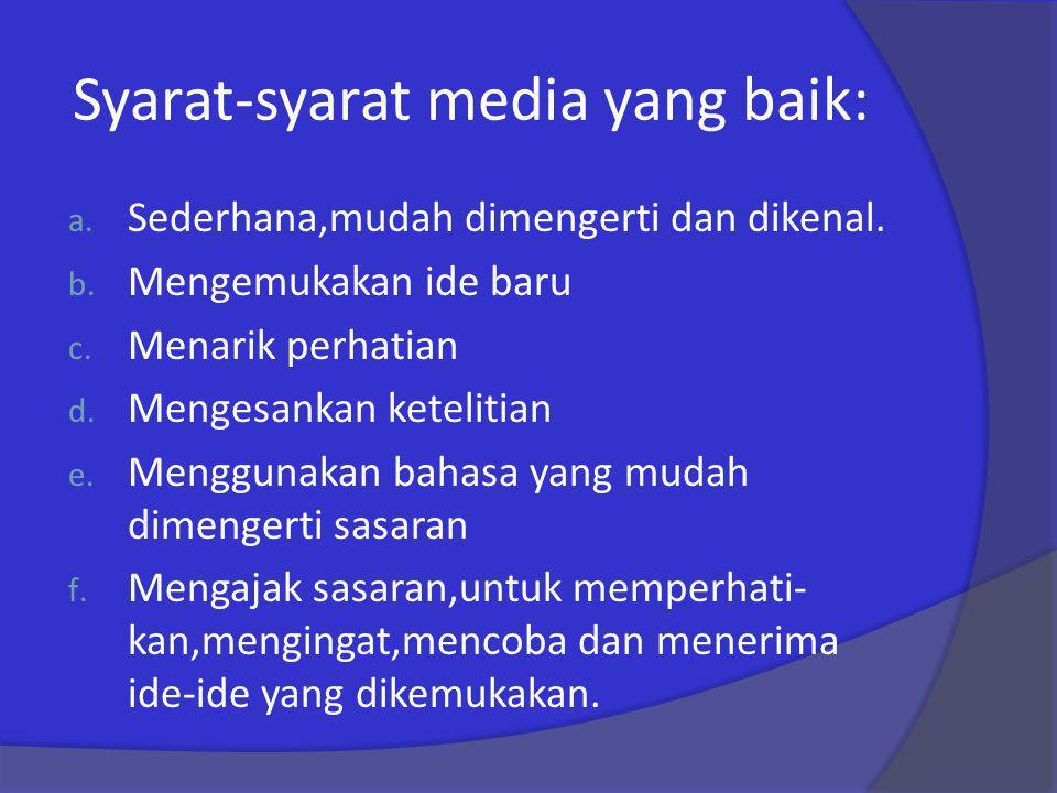 Syarat-syarat media yang baik: