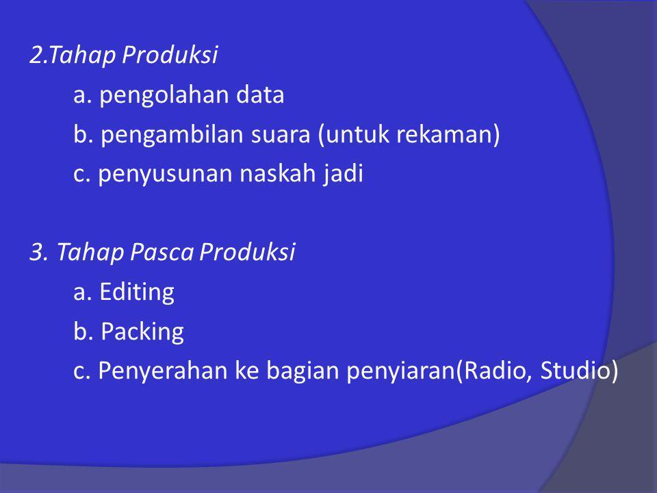 2. Tahap Produksi a. pengolahan data b