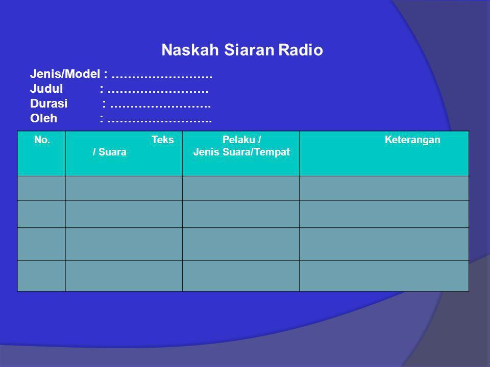 Naskah Siaran Radio Jenis/Model : ……………………. Judul : …………………….