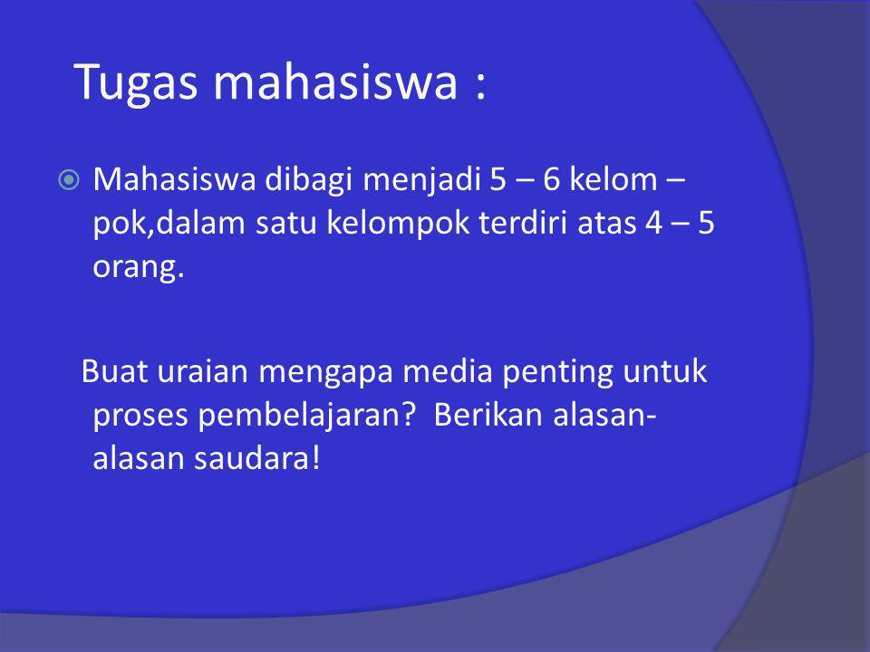 Tugas mahasiswa : Mahasiswa dibagi menjadi 5 – 6 kelom – pok,dalam satu kelompok terdiri atas 4 – 5 orang.
