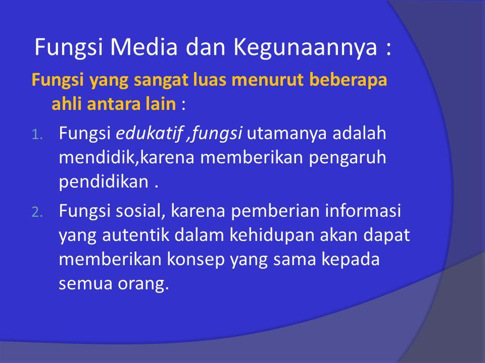 Fungsi Media dan Kegunaannya :