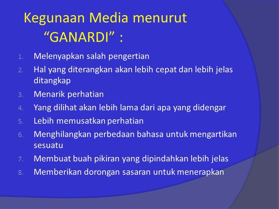 Kegunaan Media menurut GANARDI :