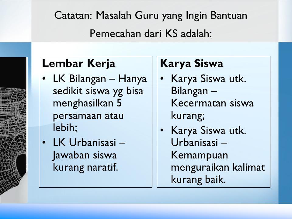 Catatan: Masalah Guru yang Ingin Bantuan Pemecahan dari KS adalah: