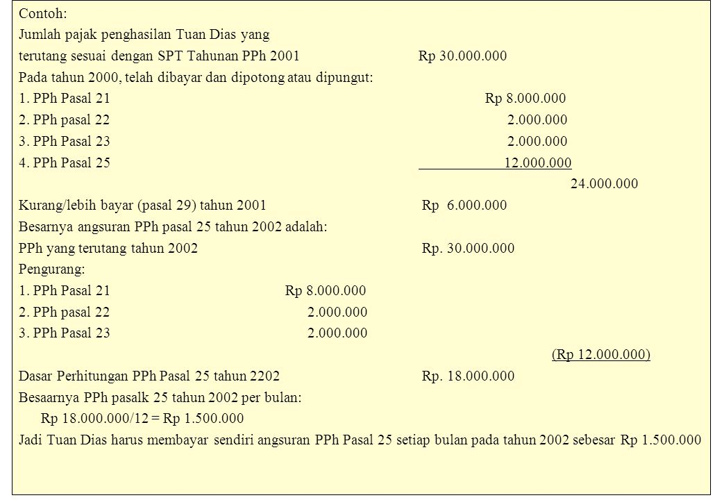 Contoh: Jumlah pajak penghasilan Tuan Dias yang. terutang sesuai dengan SPT Tahunan PPh 2001 Rp 30.000.000.