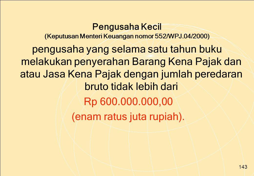 Pengusaha Kecil (Keputusan Menteri Keuangan nomor 552/WPJ.04/2000)