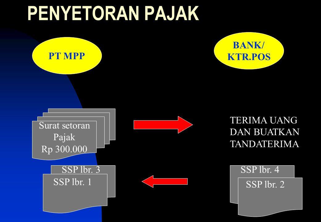 PENYETORAN PAJAK BANK/ KTR.POS PT MPP TERIMA UANG DAN BUATKAN
