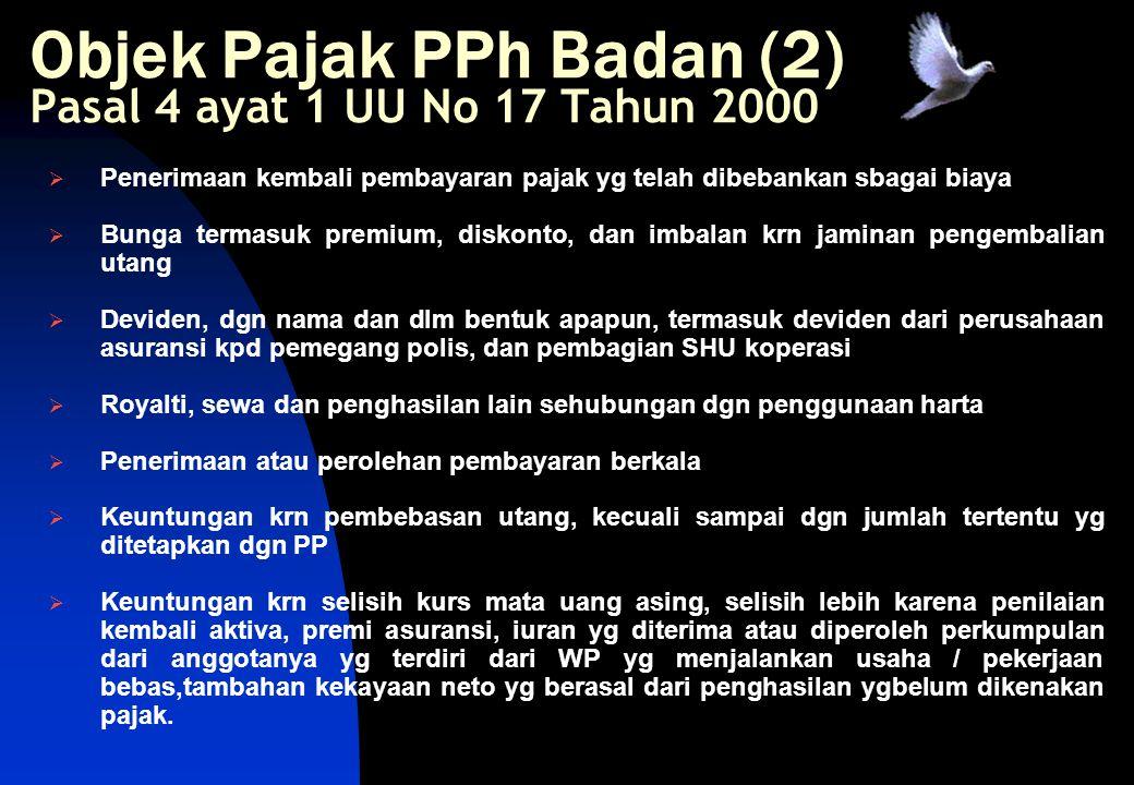 Objek Pajak PPh Badan (2) Pasal 4 ayat 1 UU No 17 Tahun 2000