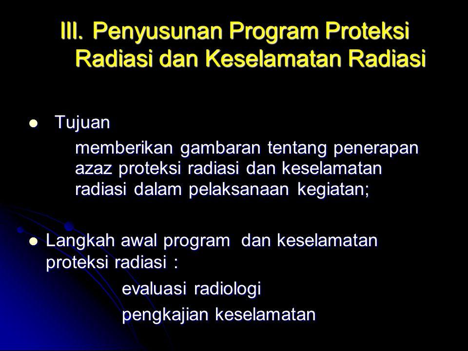 III. Penyusunan Program Proteksi Radiasi dan Keselamatan Radiasi