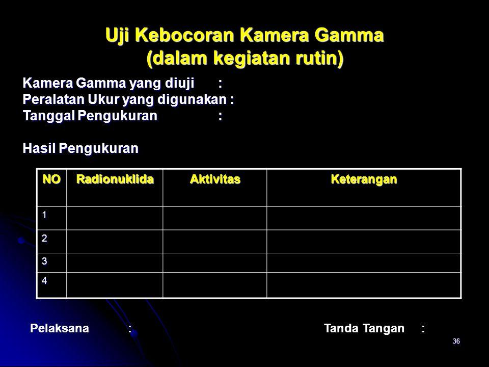 Uji Kebocoran Kamera Gamma (dalam kegiatan rutin)