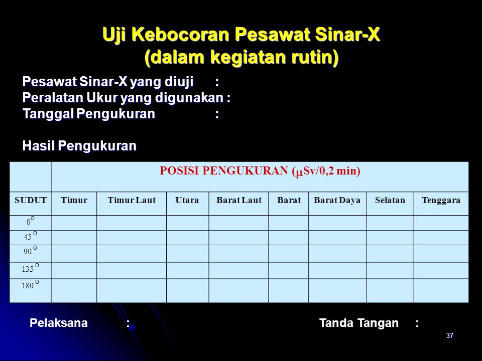 Uji Kebocoran Pesawat Sinar-X (dalam kegiatan rutin)