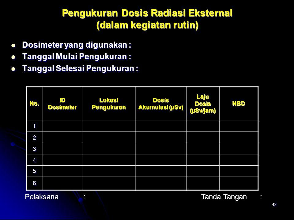 Pengukuran Dosis Radiasi Eksternal (dalam kegiatan rutin)
