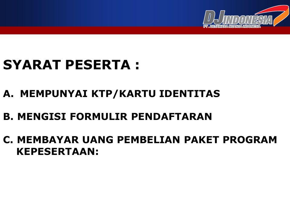 SYARAT PESERTA : MEMPUNYAI KTP/KARTU IDENTITAS