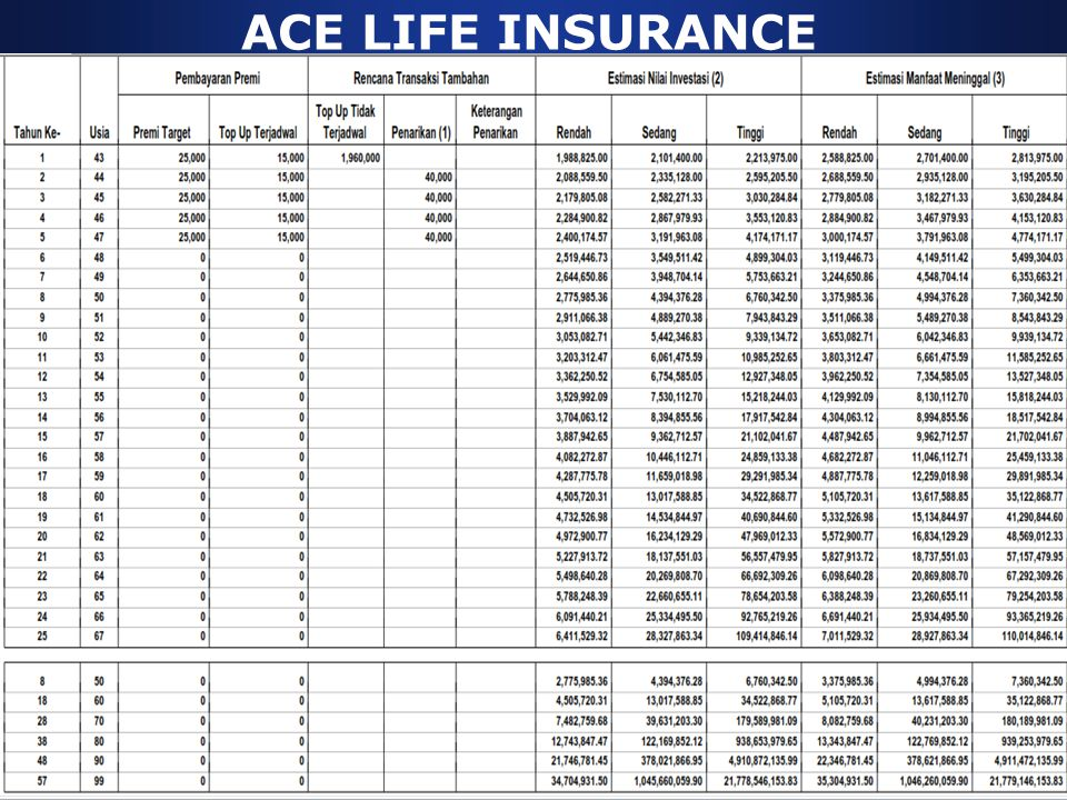 ACE LIFE INSURANCE