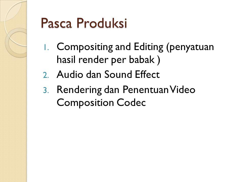 Pasca Produksi Compositing and Editing (penyatuan hasil render per babak ) Audio dan Sound Effect.