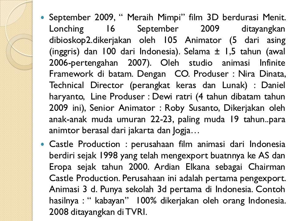 September 2009, Meraih Mimpi film 3D berdurasi Menit