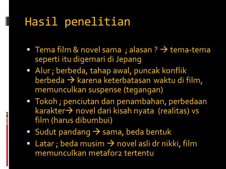 Hasil penelitian Tema film & novel sama ; alasan  tema-tema seperti itu digemari di Jepang.