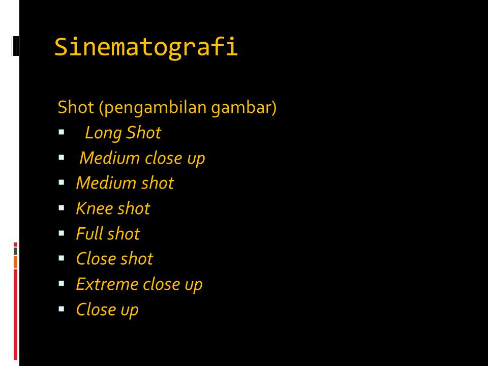 Sinematografi Shot (pengambilan gambar) Long Shot Medium close up
