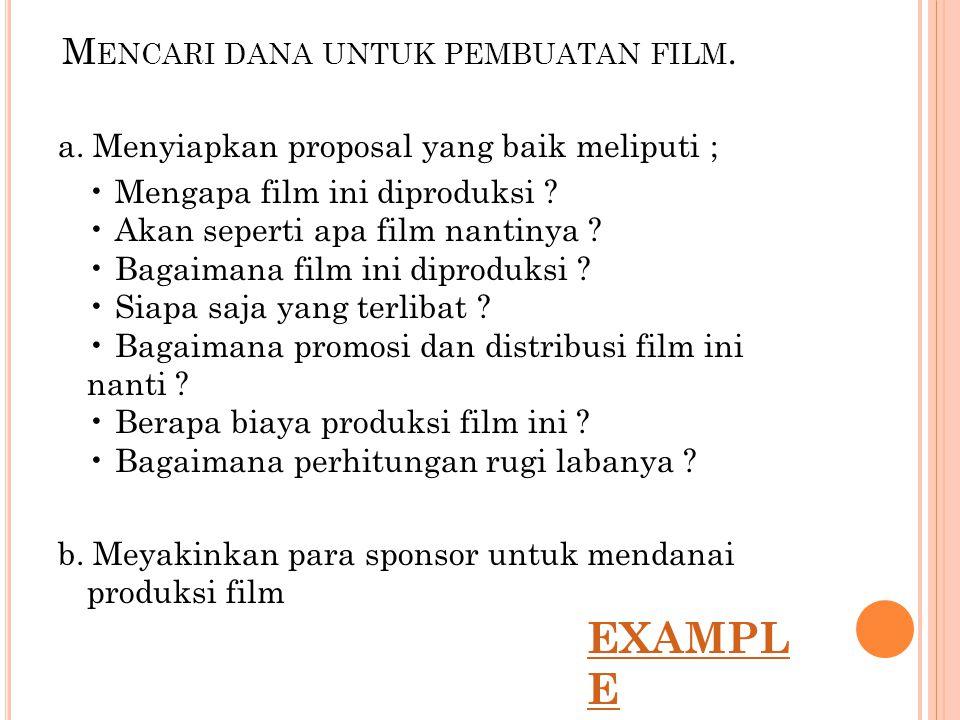 Mencari dana untuk pembuatan film.
