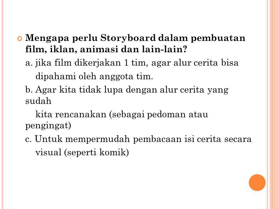 Mengapa perlu Storyboard dalam pembuatan film, iklan, animasi dan lain-lain