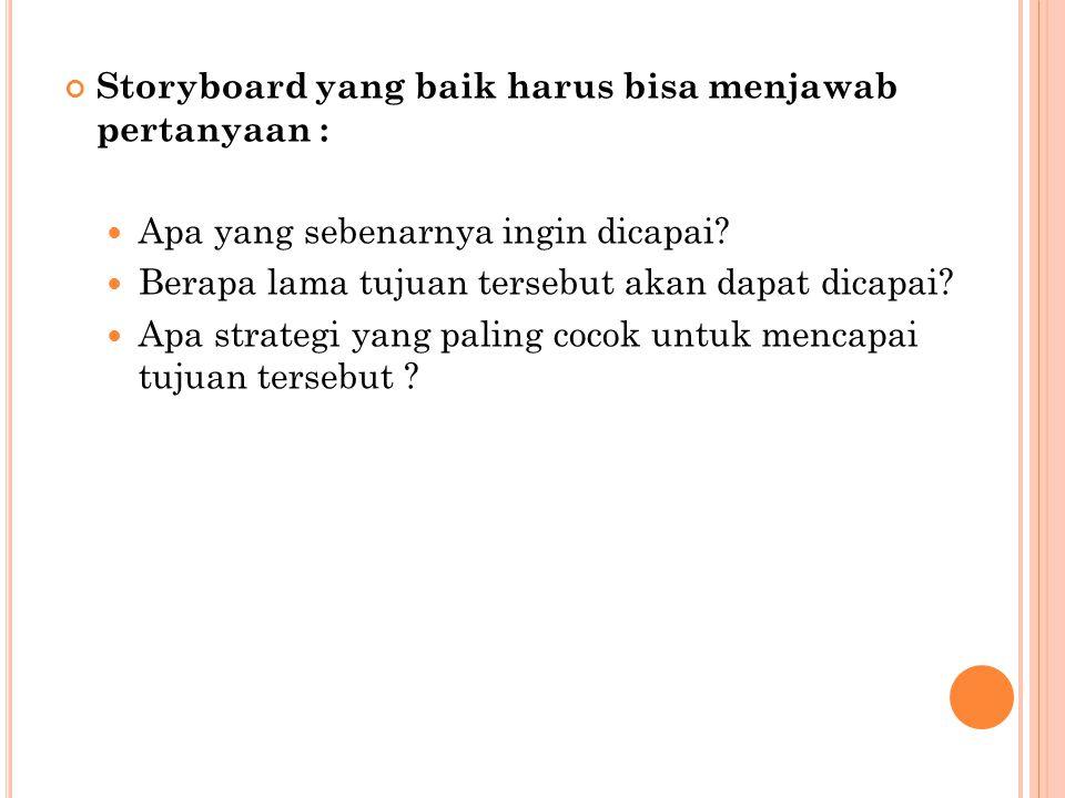 Storyboard yang baik harus bisa menjawab pertanyaan :