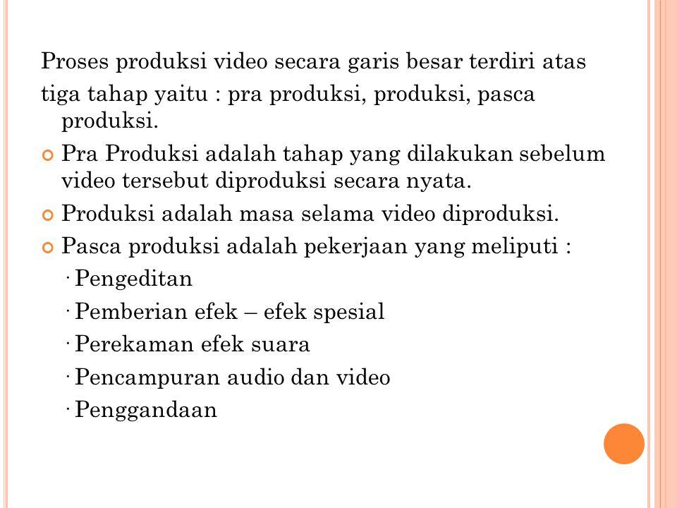 Proses produksi video secara garis besar terdiri atas