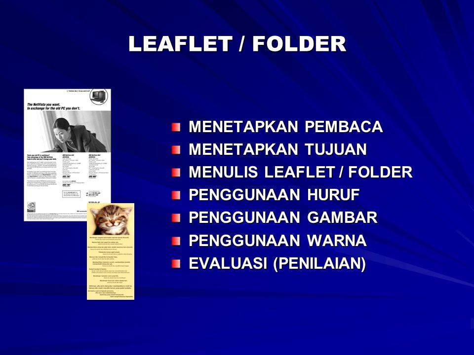 LEAFLET / FOLDER MENETAPKAN PEMBACA MENETAPKAN TUJUAN
