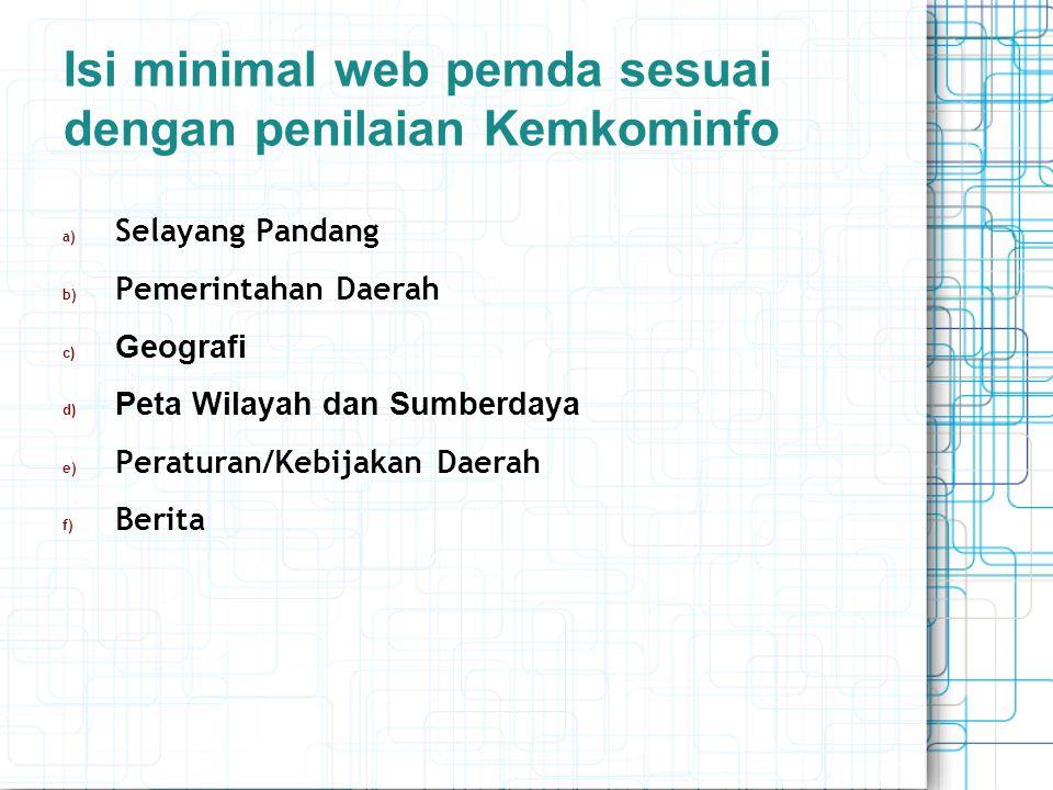 Isi minimal web pemda sesuai dengan penilaian Kemkominfo