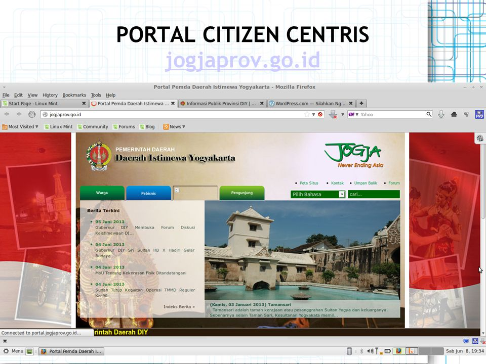 PORTAL CITIZEN CENTRIS jogjaprov.go.id